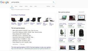 Google homepage Keyword research results